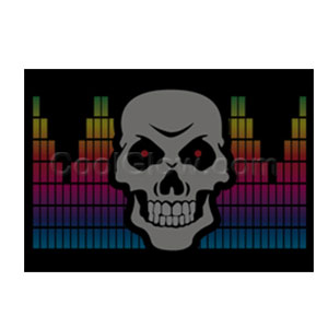 LED Sound Activated Patch - Gradient Skull