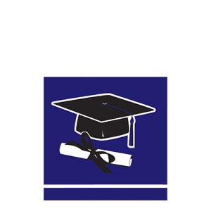 Grad Beverage Napkins - Purple