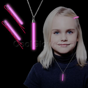 Glow Hair Pins and Pendant Necklace Set - Pink