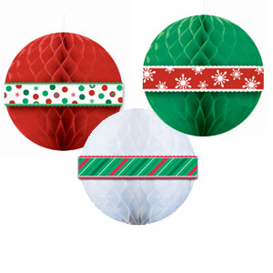 Holiday Honeycomb Ball Decor - 3ct