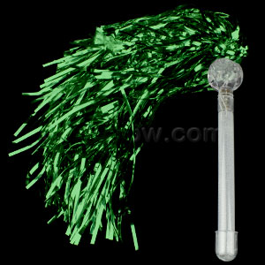 LED Metallic Pom Poms - Green