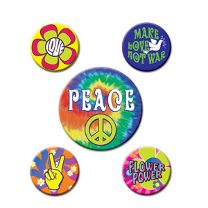 60's Party Buttons - 5ct