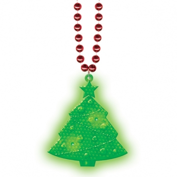 Light-Up Christmas Plastic Tree Bead Necklace