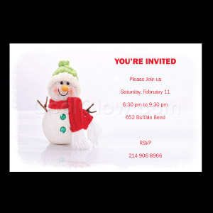 Snowman on Ice - Custom Invitations