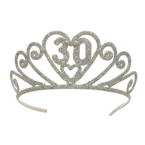 Glittered 30th Tiara - Full Size