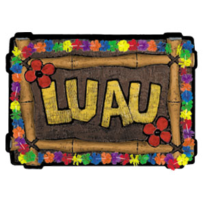 Wood Luau Sign-23in