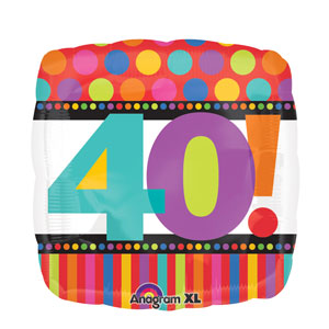 Happy Birthday Dots and Stripes 40 Balloon- 18in
