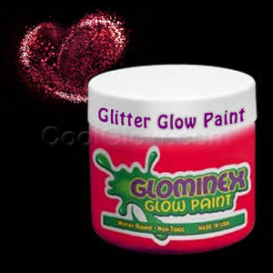 Glominex Glitter Glow Paint Pint - Red