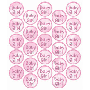Baby Girl Metallic Sticker Seals - 24ct