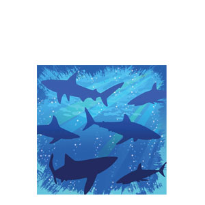 Shark Splash Beverage Napkins- 16ct