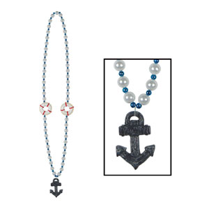 Cruise Ship Beads with Anchor Medallion- 40in