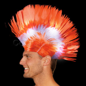 LED Mohawk Wig - Orange