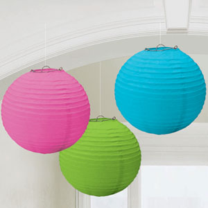 Multicolored Round 9 Inch Lanterns- 3ct