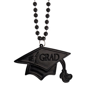 Black Graduation Bead Necklace