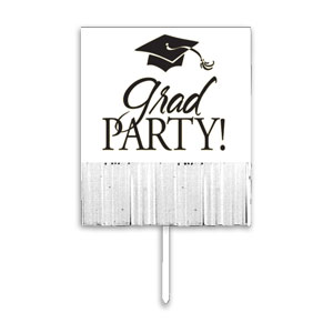 Grad Fringe Yard Sign - White