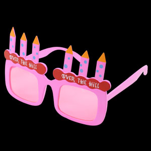 Over the Hill Birthday Eye Glasses - Pink