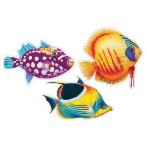 Tropical Fish Two-Sided Cutouts- 3ct