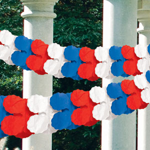 Red White Blue Paper Garland - 9ft
