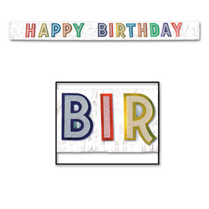 Happy Birthday White Glitter Banner - 9ft