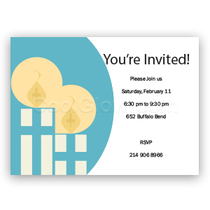 Blue Candles - Custom Invitations