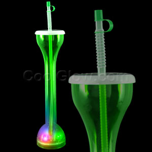 LED Drinking Bottle with Straw - Green