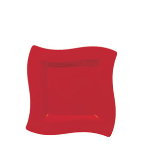 Red 6 Inch Wavy Square Plates - 10ct