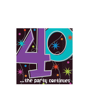 The Party Continues-40 Beverage Napkins- 16ct