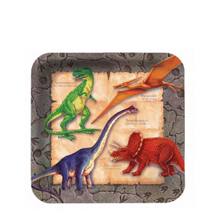 Diggin' For Dinos Square 7 Inch Plates- 8ct
