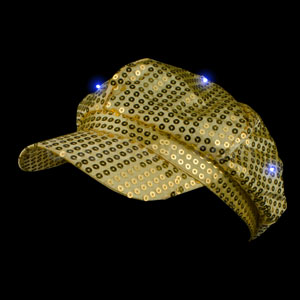 LED Sequin Newsboy Hat - Gold