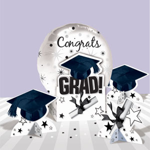Graduation White Balloon Centerpiece- 5pc