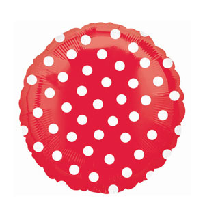 Red Polka Dot Metallic Balloon- 18in