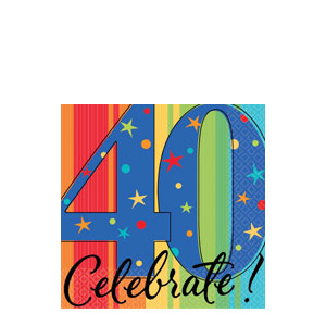 A Year To Celebrate 40 Beverage Napkins- 16ct