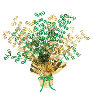 Dollar Sign Gleam 'N Burst Centerpiece- 15in