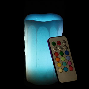 5 Inch Flameless Remote Control Pillar Candle - Melted Edge - Multicolor