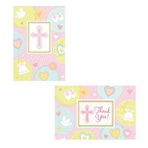 Sweet Christening Pink Invitation and Thank You Card Set- 16ct