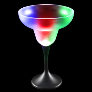 LED Margarita Glass Black Stem - 7 oz.