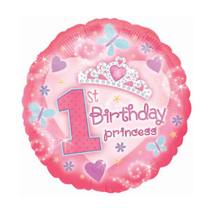 First Birthday Princess Balloon - Metallic