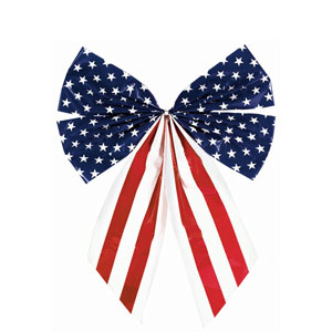 Stars Stripes Plastic Flag Bow - 17.5in