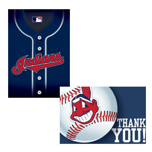 Cleveland Indians Invitations and Thank You Cards Set- 16ct