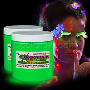 Glominex Glow Body Paint 8 oz Jar - Green