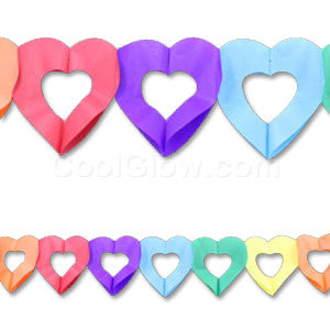 Multicolor Heart Paper Garland - 12ft
