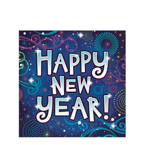 New Year Midnight Festivities Plastic Table Cover- 102 Inch