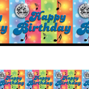 Disco Happy Birthday Banner Roll- 40ft