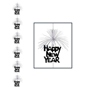 Happy New Year Firework Stringer - Silver