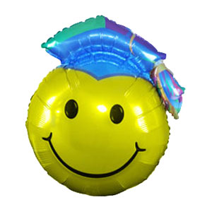 Graduation Smiley Metallic Balloon
