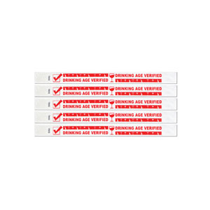 Drinking Age Verified Tyvek Wristbands - 100ct