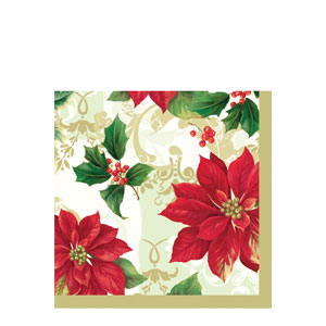 Elegant Poinsettia Dinner Napkins