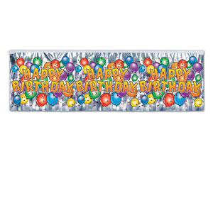 Birthday Balloon Fringe Banner - 4 foot