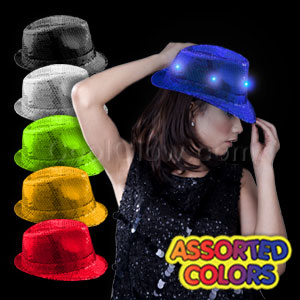 Fun Central O993 LED Sequin Fedora - Assortment Colors 12ct
