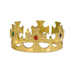 Plastic Jeweled King's Crown- Gold